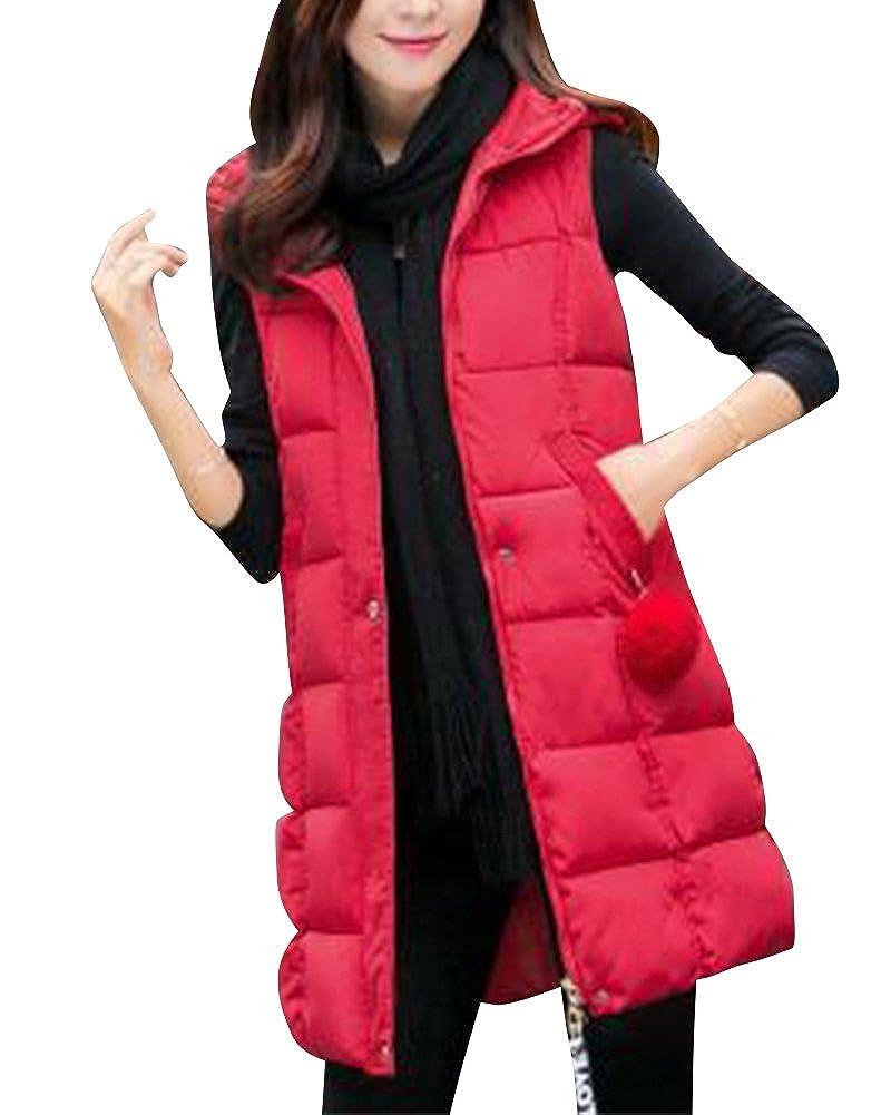 Qitun Women Quilted Zip Gilet Hooded Sleeveless Long Vest Winter Warm Waistcoat Outerwear Jacket Coat