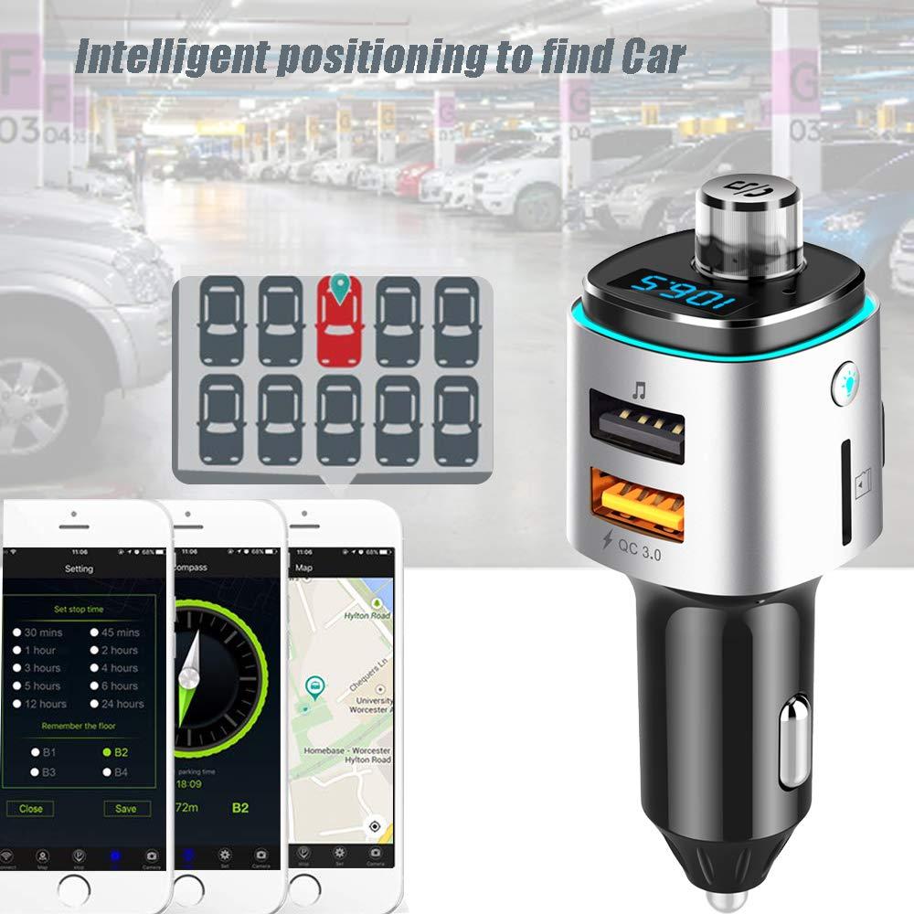 Cargador Doble USB Adaptador de Radio Inal/ámbrico QC 3.0 con Llamada Manos Libres Transmisor FM Bluetooth para autom/óvil