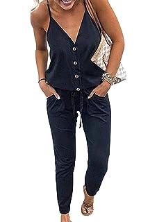 a97d0f0e0a70d8 PRETTYGARDEN Women's Sexy Deep V Neck Spaghetti Strap Drawstring Waist Jumpsuit  Romper with Pockets