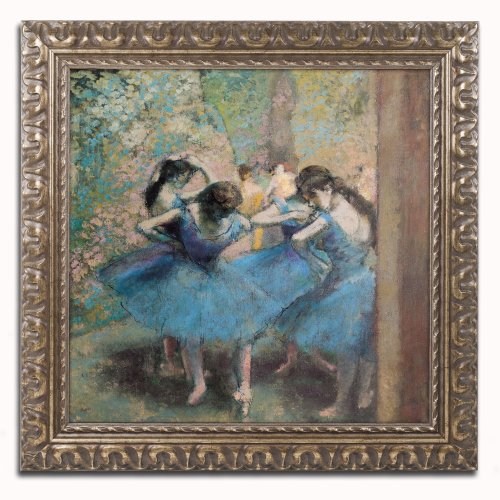 Dancers in Blue 1890 Canvas Art by Claude Monet, 16 by 16-Inch, Gold Ornate Frame
