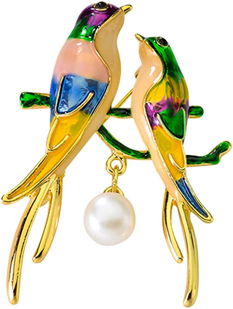 QTKJ Love Couple Bird Brooch with Natural Freshwater Pearl Colorful Animal Brooches Jewelry Gifts for Women Teen Girls Gold