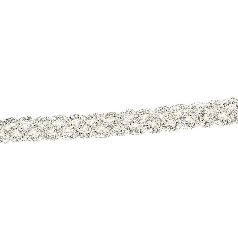 ENET Cintur/ón de Novia con Cinta de sat/én y Cristales de estr/ás Vintage