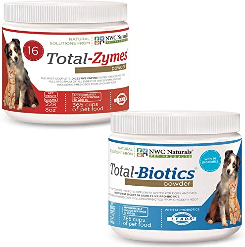 NWC Naturals Cat Dog Probiotics and Digestive Enzymes Powder Total-Biotics Total-Zymes Twin Packs
