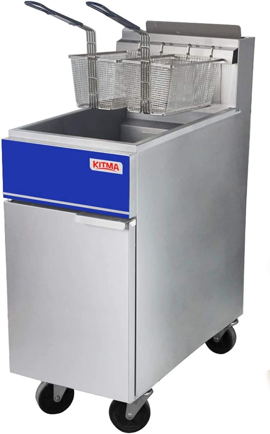 Commercial Deep Fryer, 3 Tube Floor Fryer with 2 Fryer Baskets, 40 lb. Liquid Propane Fryer for Restaurant, Kitchen, 90,000 BTU/h