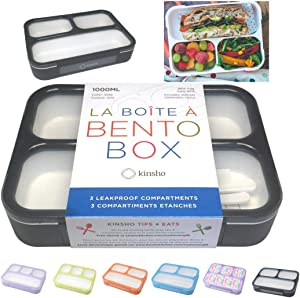 Bento Lunch Box For Adults, Kids | Leakprook Meal Prep Portion Control Boxes Japanese Style for Boys Teens 3 Compartment Slim Container For Work, School | Eco-friendly Divided Containers, Grey - Black