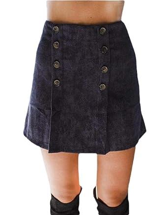securiuu Mini Falda de Pana de otoño con Cintura Alta Sexy para ...