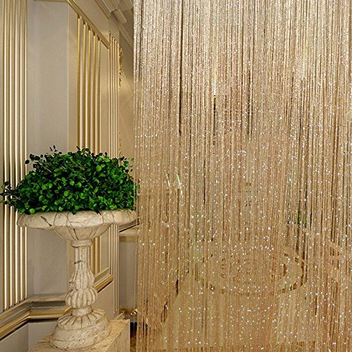Shower Curtains Window Curtains (Tassel Glitter Curtains String Champagne for Living Room Window Door Shower Curtain Divider Panels Screen Drape Decoration)
