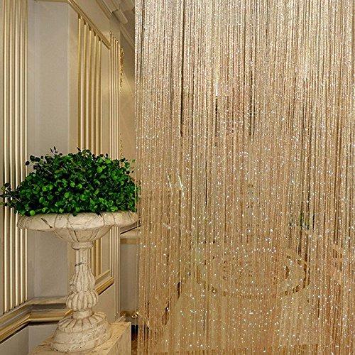Autumn Water Tassel Glitter Curtains String Champagne Living Room Window Door Shower Curtain Divider Panels Screen Drape Decoration