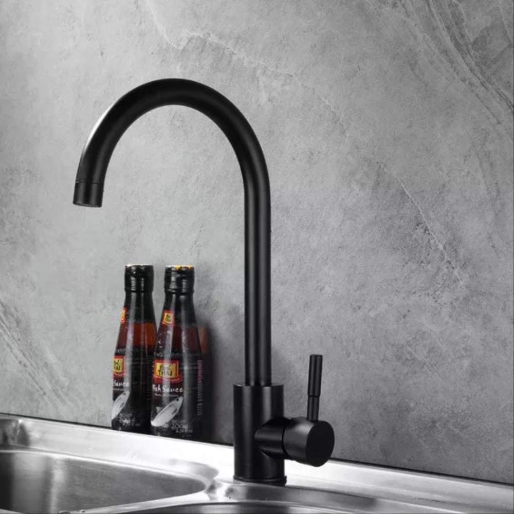 All Black Mixed Faucet Home Kitchen Wrench Type Space Aluminum Faucet Hot And Cold Water High Bend Wash Vegetable Basin Faucet A Universal Purple + Silver