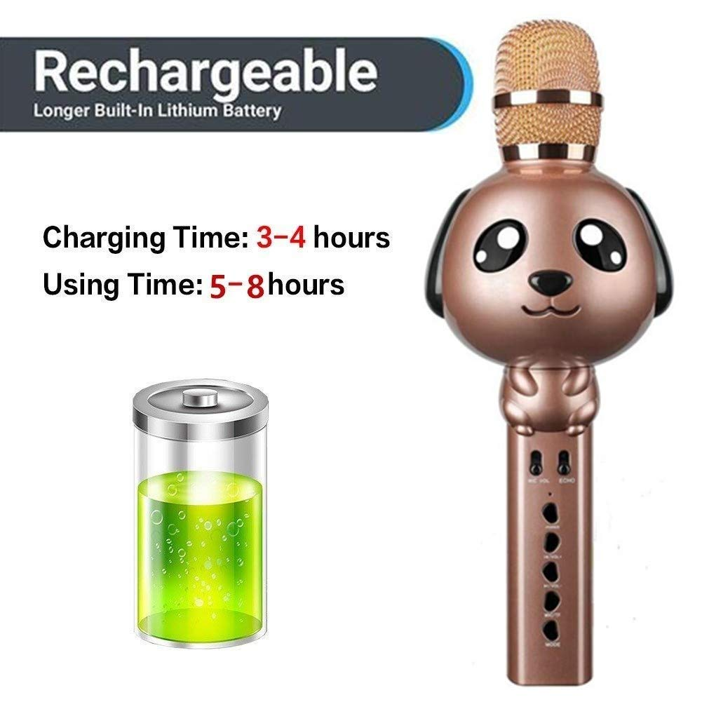 Wireless Karaoke Microphone for Kids Bluetooth Mic Portable Handheld Karaoke Machine for Kids Singing KTV Parties Boys Girls Parties Christmas or Birthday Gifts Toys iPhone Android PC (Rose Gold) by Rhllxzo (Image #5)