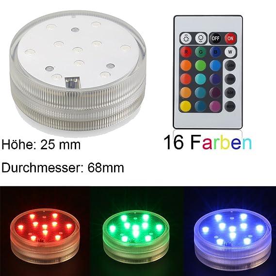 Bajo el agua de LED de luz 68 mm 3 AAA batteriebetriebene RGB Multi Colores Agua Densidad LED de luz con mando a distancia para shisha LED Efecto Luz boda ...