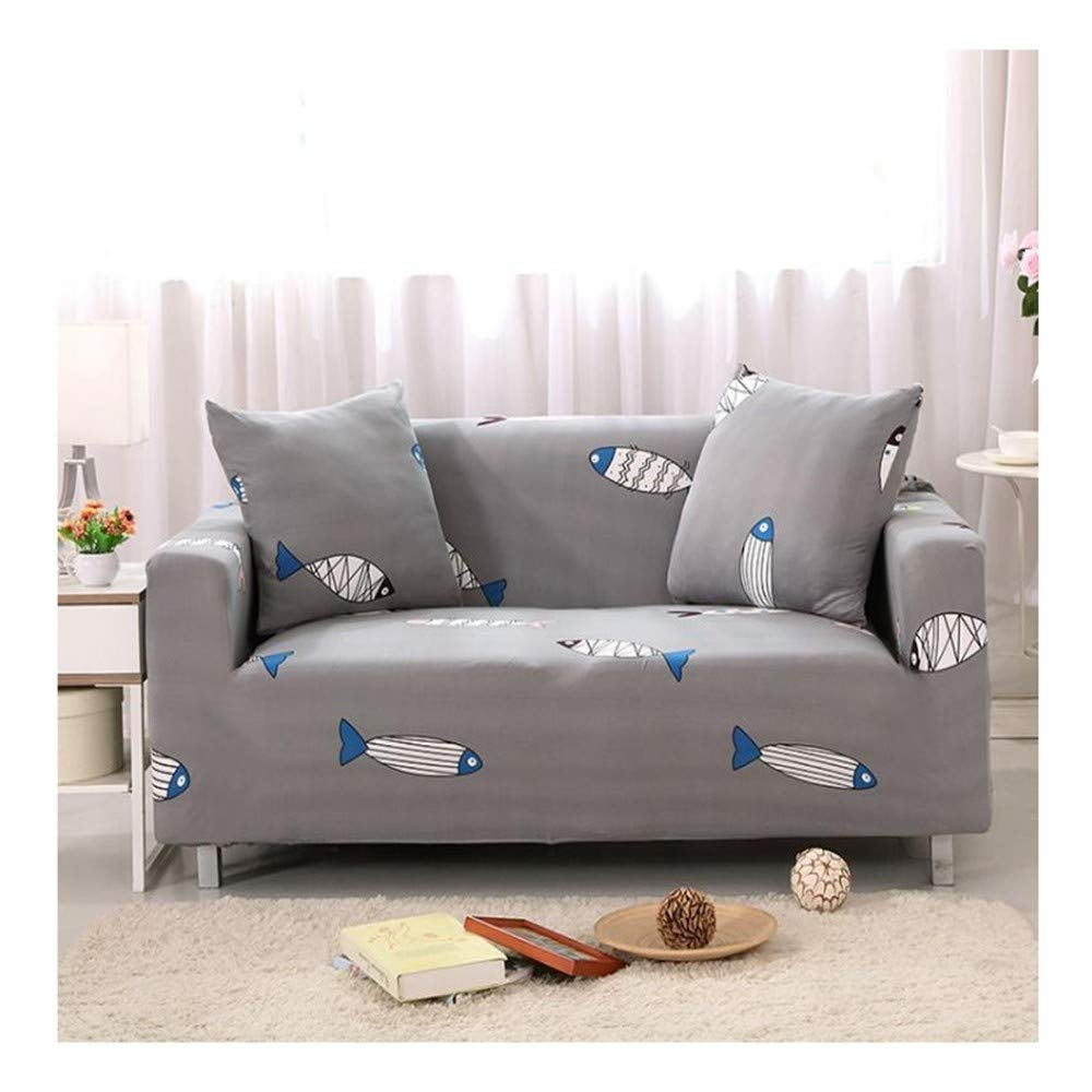 4seat VGUYFUYH Cartoon Small Fish Pattern Four Seasons Universal Non-Slip Sofa Cover Polyester All-Inclusive Elastic Home Universal Sofa Cover Simple Fashion One Set Durable Dust Pet Dog Predective Cov