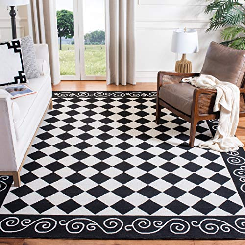 Safavieh Chelsea Collection HK711A Hand-Hooked Black and Ivory Premium Wool Square Area Rug (6' Square)