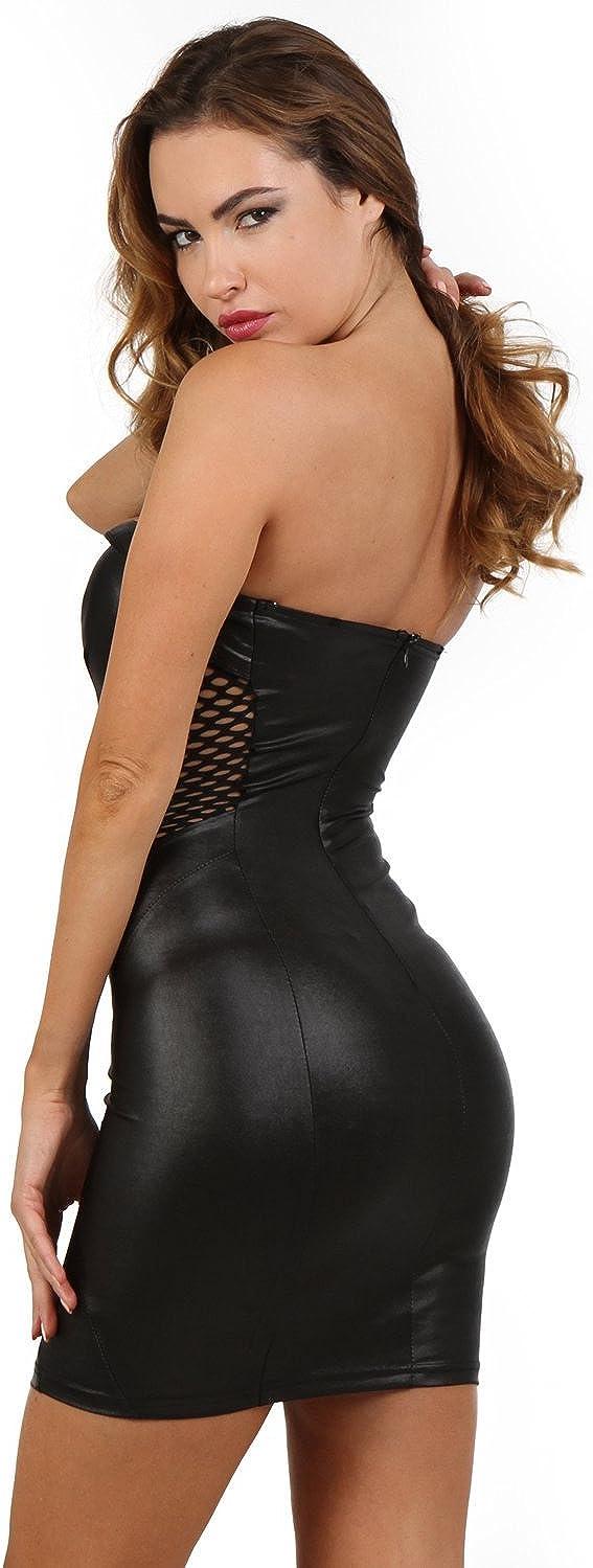 Wetlook Damen Mini-Kleid Bustier Style Schn/ürung Mesh-Eins/ätze Exklusives Clubwear Partykleid