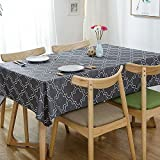 Lamberia Printed Fabric Tablecloth Heavyweight Wrinkle-Free Stain Resistant 60-Inch-by-84 Oblong/Rectangle Seats 6-8 People, Grey