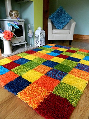 MULTI COLOURED FUNKY BRIGHT MODERN THICK SOFT HEAVY QUALITY SHAGGY AREA RUG...