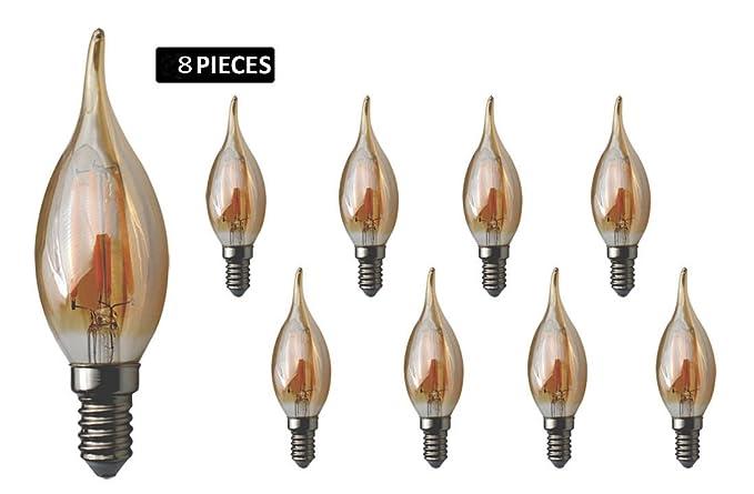 JCKing 8-Pack Regulable AC 220V E14 4W LED Filamento Vintage Bombilla, 40W Bombillas