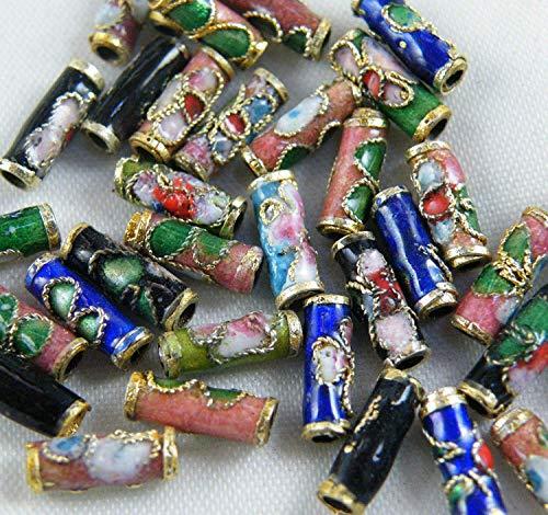 Nykkola Colorful Flower Tube Enamel Cloisonne Beads Fit