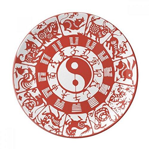Chinese Taiji Diagrams Yin-yang Zodiac Dessert Plate Decorative Porcelain 8 inch Dinner Home