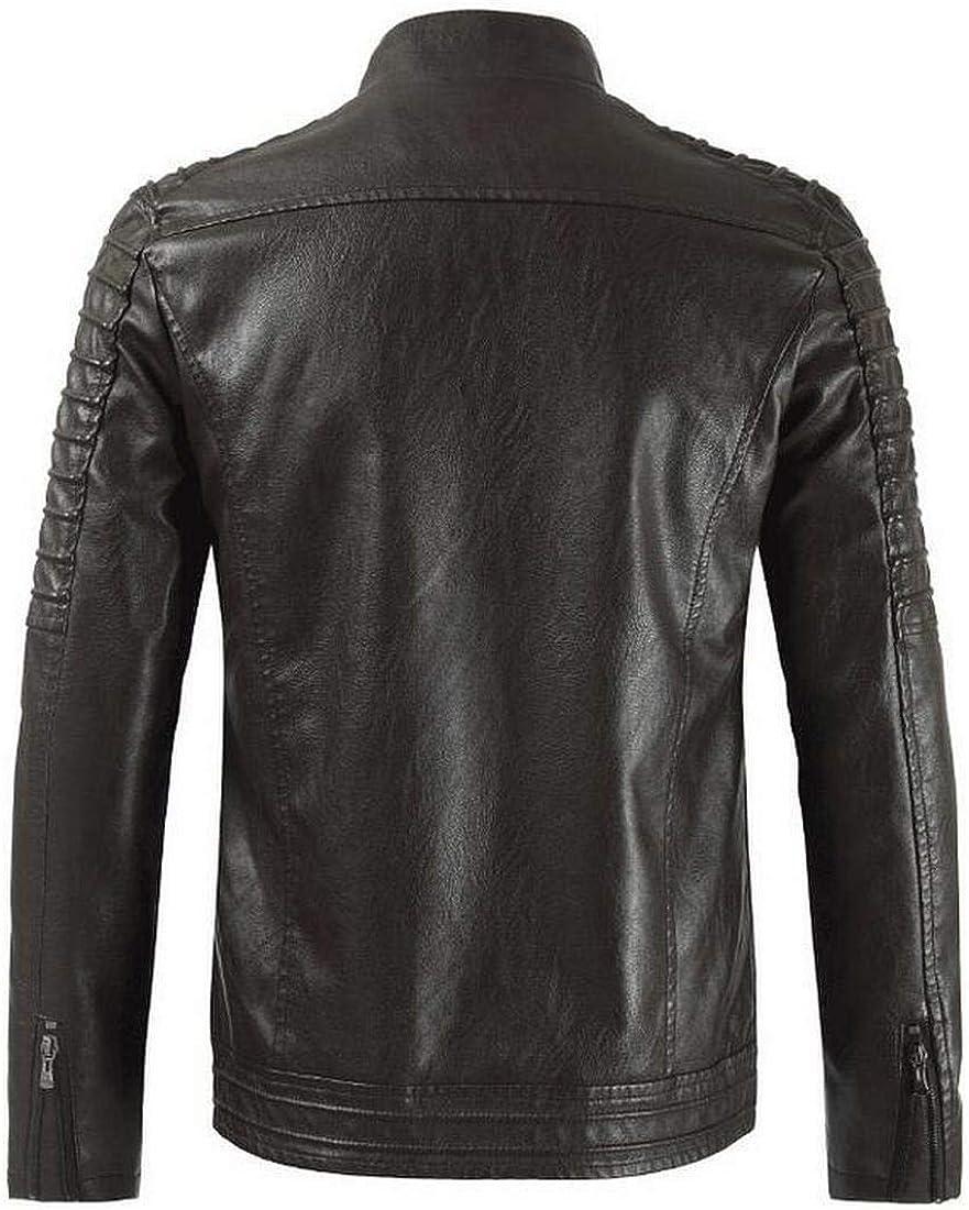 Bravepe Men Fleece Solid Moto Biker Fall Winter Faux Leather Stand Collar Windbreaker Jacket Coat