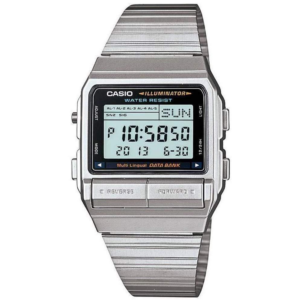 Casio DB380-1 - Reloj para Hombres, Correa de Acero Inoxidable Color Plateado
