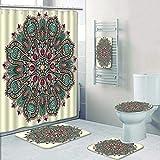 Philip-home 5 Piece Banded Shower Curtain Set Mandala Circle Ative Spiritual Indian Symbol of Lotus Flower Raster Version Pattern Printing Suit