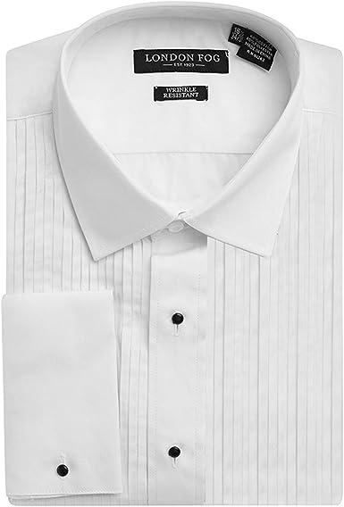 Londres Niebla Hombre Tumbado Cuello Camisa de Puño Francés de Esmoquin - Blanco -: Amazon.es: Ropa y accesorios