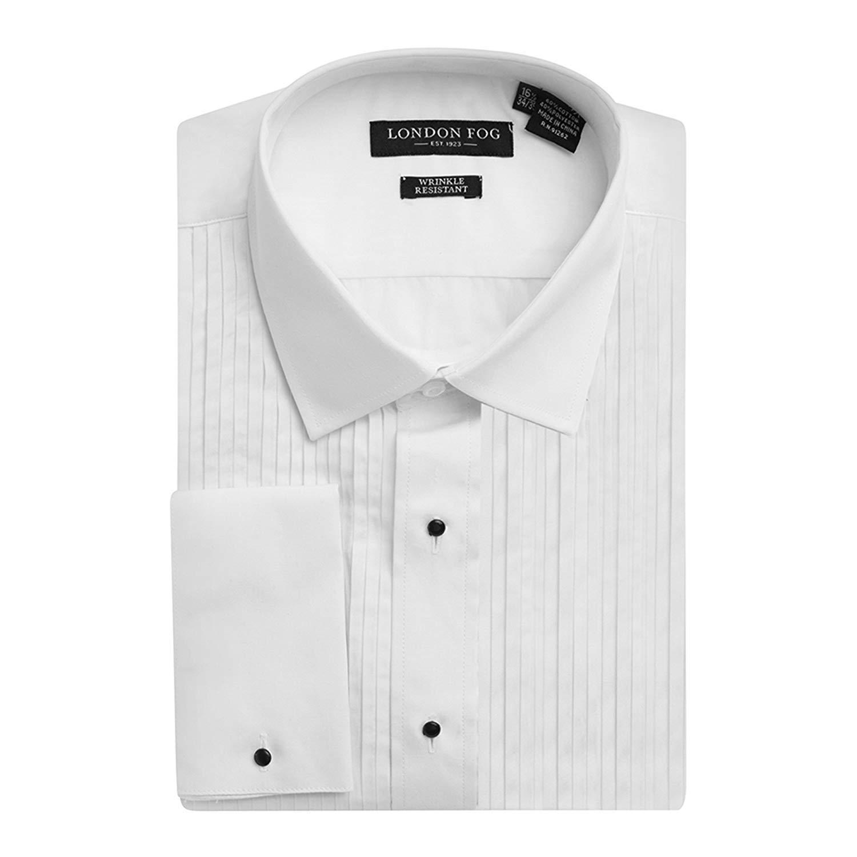 London Fog Men's Laydown Collar French Cuff Tuxedo Shirt (19 34/35, White) by London Fog