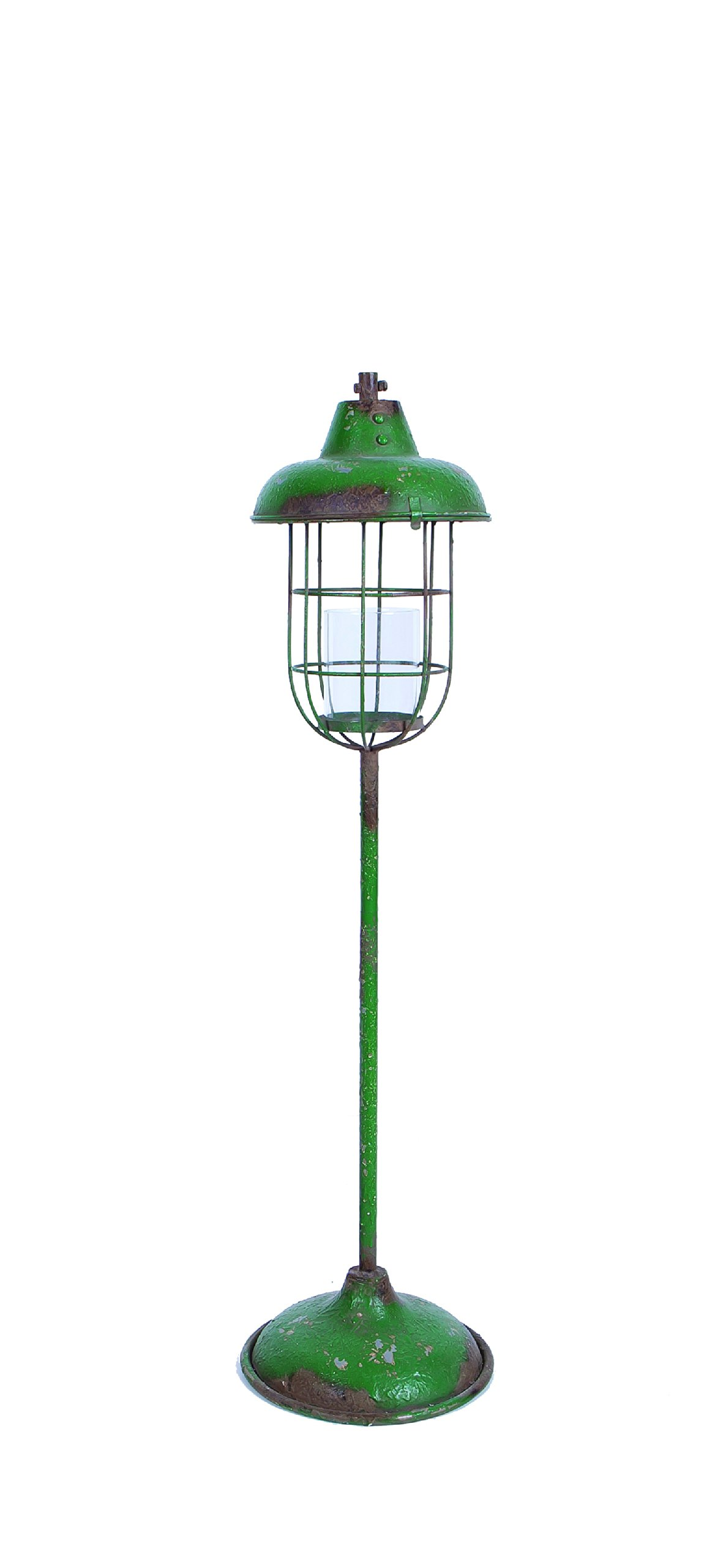 Creative Co-op Small Green Metal Lantern Candle Holder on Stand
