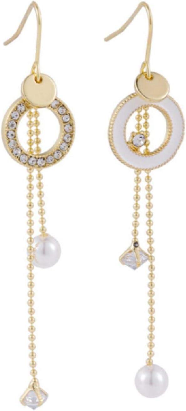 ZHUANQIAN Pendientes Largos con Borla Circular de Perlas, Colgante de Diamantes de Imitación de Temperamento, Joyería, Regalo para Mujeres y Niñas, 2 Pares
