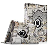 Fintie iPad Pro 9.7 Case - 360 Degree Rotating Stand Case with Smart Cover Auto Sleep / Wake Feature for Apple iPad Pro 9.7 Inch (2016 Version), Map White