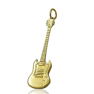 Solid 9ct oro collar de la guitarra eléctrica Gibson SG cadena - Set de regalo 40