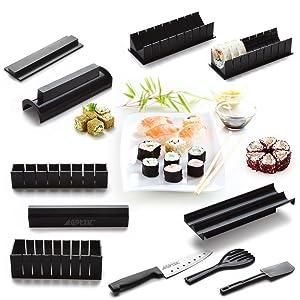 Sushi Maker Kit, AGPtek 11pcs DIY Sushi Making Kit Roll Sushi Maker Rice Roll Mold Including Sashimi Knife for Kitchen DIY Easy To Use