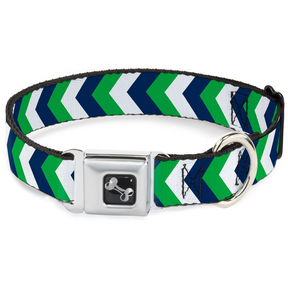 Buckle-Down 11-17  Chevron White Bright Green Navy Dog Collar Bone, Medium