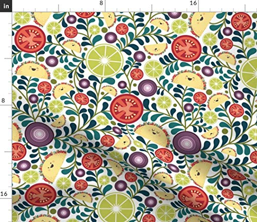 (Spoonflower Kitchen Fabric - Fiesta Onion Tomato Food Mexican Lime Print on Fabric by The Yard - Denim for Sewing Bottomweight Apparel Home Decor Upholstery)