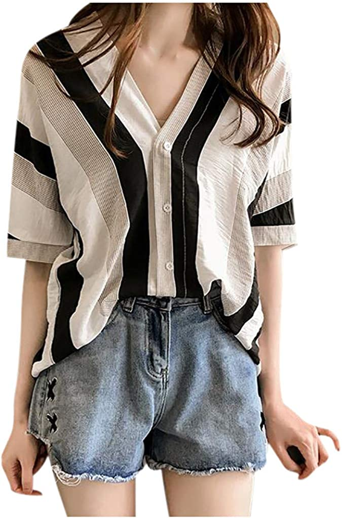 Womens Short Sleeve Casual Lapel Neck T-Shirt Ladies Buckle Blouse Tops
