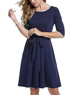 b303c2417db7 Zalock Damen Kleid Elegant Strandkleid Festlich Sommerkleid Partykleid  Rundhals Mittlerer Ärmel Enges Cocktailkleid Brautjungfern Kleid mit