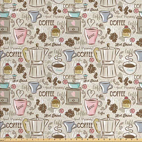 Ambesonne Modern Fabric by The Yard, Coffee Time Vintage Espresso Machine Cupcakes Beans Design, Decorative Fabric for Upholstery and Home Accents, 2 Yards, Pink Beige