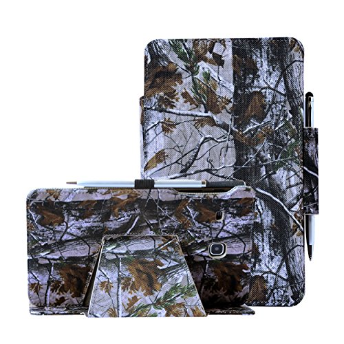 i-UniK Samsung Galaxy TAB E 8.0 inch Compatible SM-T377A/P/R/T/V Verizon/Sprint/US Cellular/AT&T/T-Mobile case by i-UniK Slim Folio Case [Bonus Stylus] (Hunting Tree Camo)