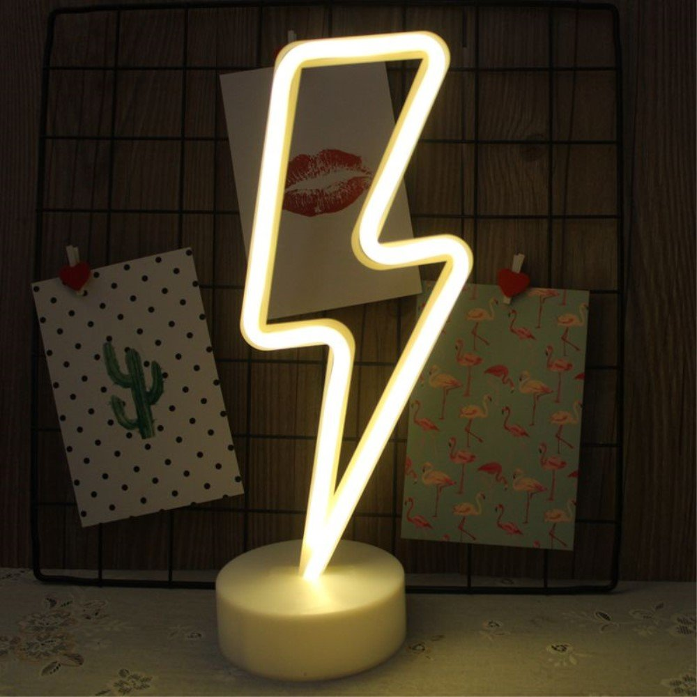 Fantasee Decorative LED Neon Night Light Battery Operated for Living Room Bedroom Home Wedding Party Christmas Birthday Gift Festival (Lightning)