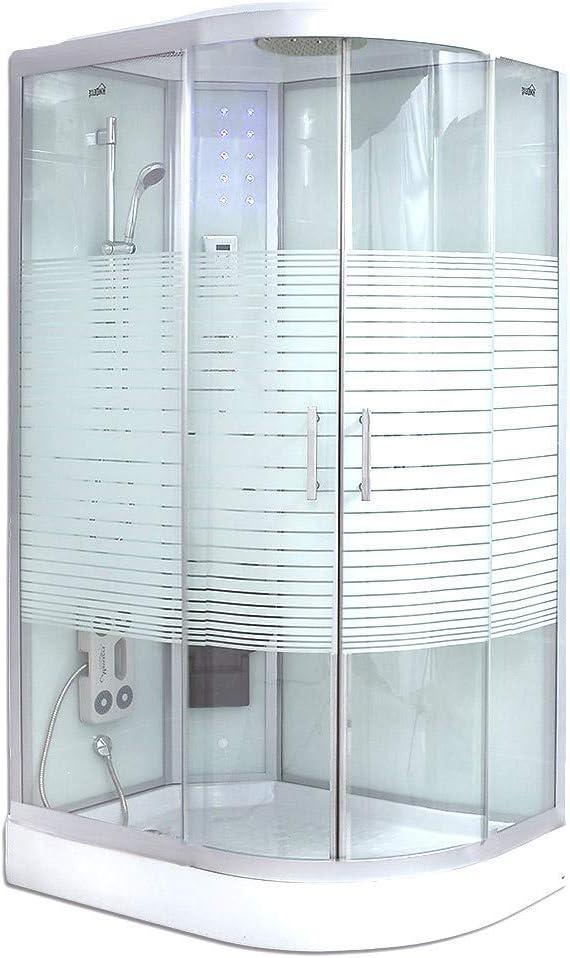 Home Deluxe – Ducha completa White Pearl con ducha de lluvia, ducha de lluvia, ducha preparada, cabina de ducha completa, Blanco, 120x80cm rechts: Amazon.es: Hogar