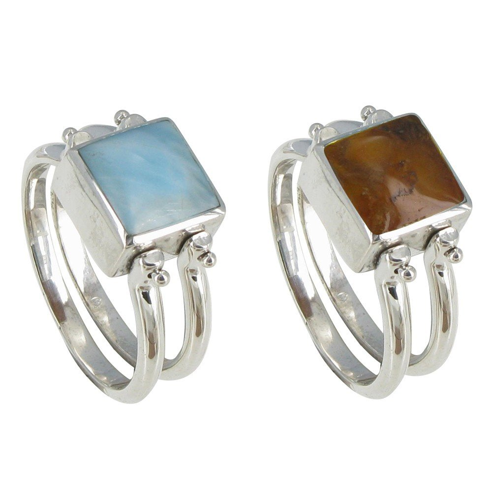 Les Poulettes Jewels - Sterling Silver Double Rings Reversible Square Larimar and Amber - size 6