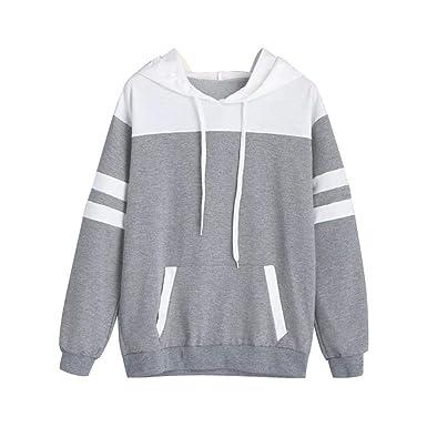 4463215f9936f Sweat à Capuche Femme 2018 EUZeo Automne Hiver Sweat-Shirt Épissage de  Couleur Kangaroo Pocket Manche Longue Col à Capuche Arrêtez-Vous Hauts de  Saut ...