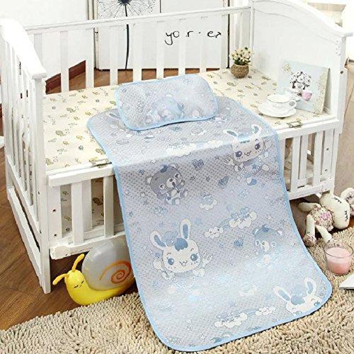 Handfly Baby Summer Cool Sleeping Mat,Breathable Ice Silk Mattress Pads,Toddler Crib Cot Cozy Nap Pads,Infant Bed UnderPads,Mat Or Mat Set(Mat+Pillow),Size 12061cm,Kwaii Rabbit Print.