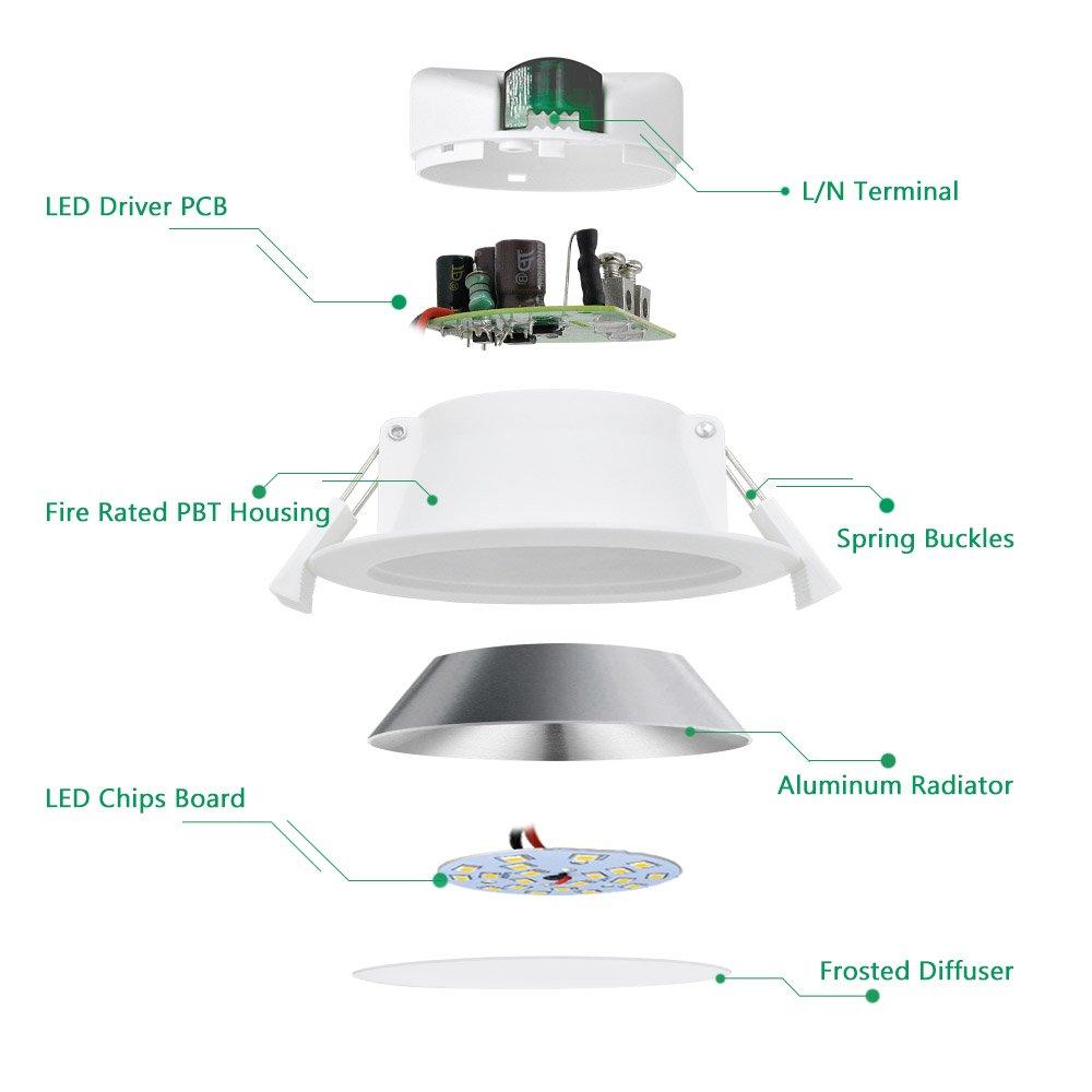 Lampara Plafone Foco LED Empotrable de Techo Downlight LED 10W Luz Calida 3000K para Baño y Cocina AC100~240V Agujero del Techo Ø90-105mm Pack de 1 de ...
