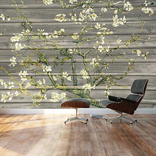 Almond Blossom by Vincent Van Gogh Floral painting on a soft gray wood paneled background Wall Mural