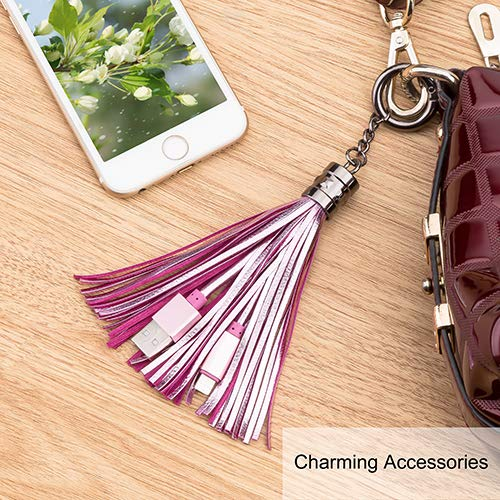 Amazon.com: Cable Micro USB, llavero de piel con borla y ...