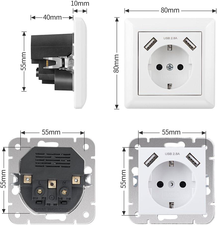 Enchufe con 2 Puertos USB