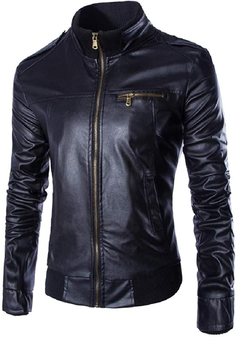 YUNY Mens Stand Collar Zip Thicken Solid-Colored Slim Fit Pu Leather Jacket Black S