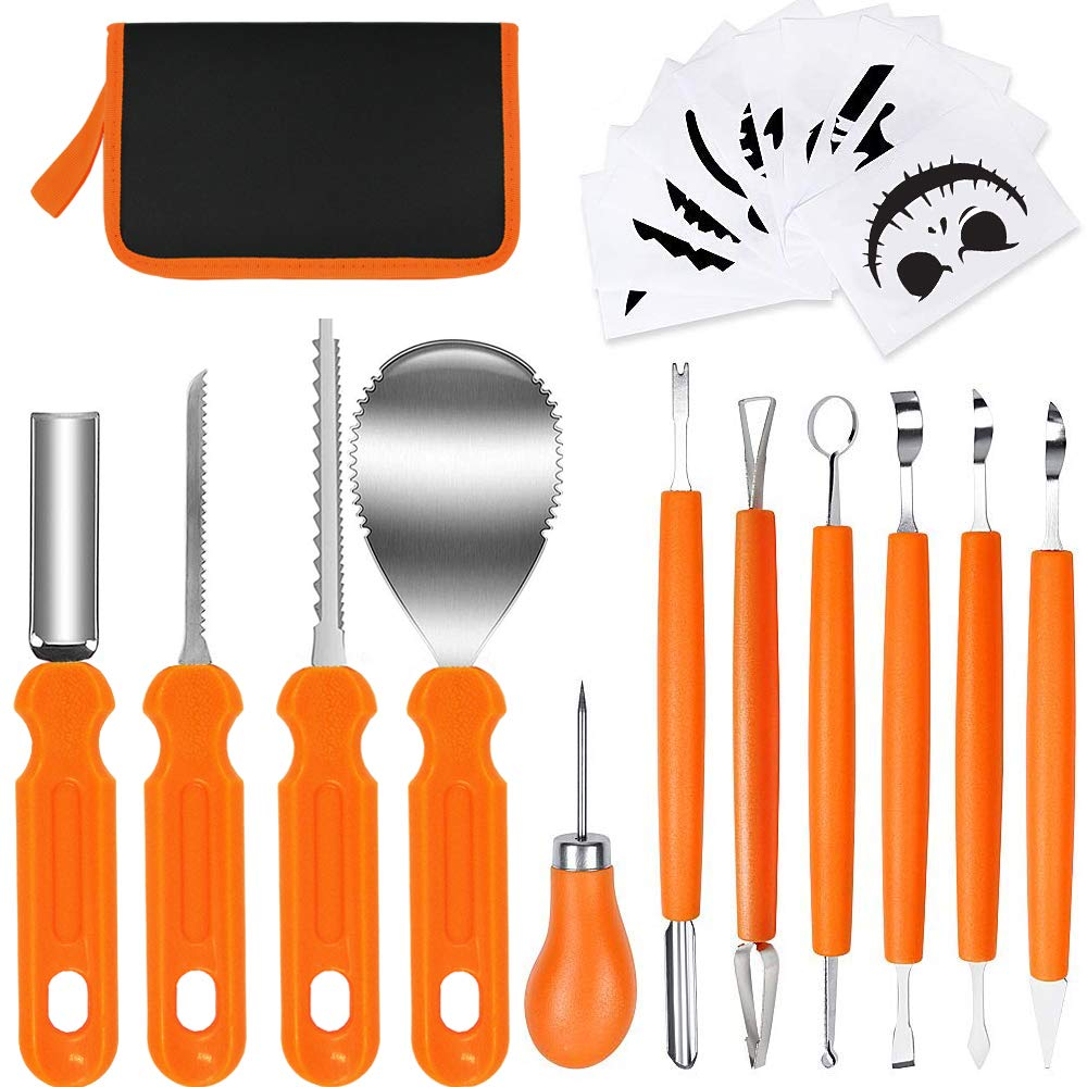 Halloween Pumpkin Carving Kit, 11 pcs Professional Stainless Steel Carving Tools Set Art Craft Pumpkin Cutting Supplies Carve Sculpt Jack-O-Lanterns DIY Halloween Decorations With Storage Case by Antrixus